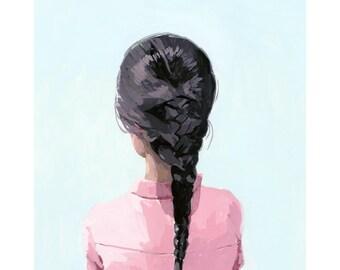 """hair art - braid print - """"Braid 6"""" giclee print"""
