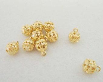 F-496. 2 pcs Gold plated Ball Pendant