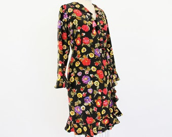 Silk Wrap Dress Floral Ruffled 80s 90s Abstract Flamenco inspired black, hot pink, plum purple, yellow lightweight Spring Summer party frock