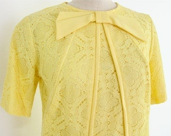60s Mod Suit, Yellow Lace 2 Piece Dress Outfit Bombshell office pin up wiggle oversized bow pastel pop color cotton Spring Summer 60s suit