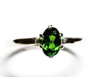 """Chrome diopside ring, chrome diopside, solitaire ring, green ring, green, s 5 3/4 """"Keen for Green"""""""