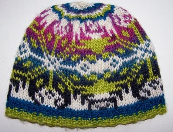 Hand Knit Soft Fair Isle Beanie Hat Snowflake Green & by EacArt