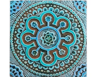 Suzani ceramic tile // Wall tile // Decorative tile // Ceramic art // Handpainted tile // Suzani #2 // Turquoise
