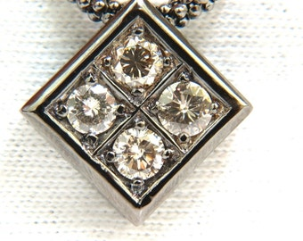 1.54CT Diamonds Natural Fancy Light Brown Beaded Necklace 14KT Blackened