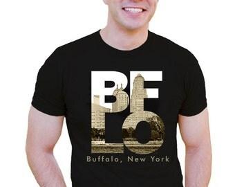 unisex men buffalo tshirt BFLO Buffalo NY architecture city hall liberty building