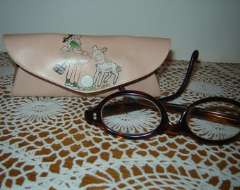 Sweet Vintage Girl Eyeglasses / Pink Mary Had a Little Lamb Glasses Case / Tortoise Frame / 60s/70s