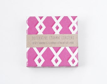 Geometric Coasters Hot Pink White Modern Drink Tile Coasters, set of 4