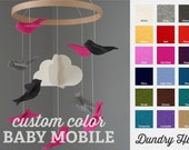 100% Merino Wool Felt Nursery Mobile - Eco-Friendly - Rich, Lightfast Colors - Heirloom Quality - Choose your own felt bird COLORS!