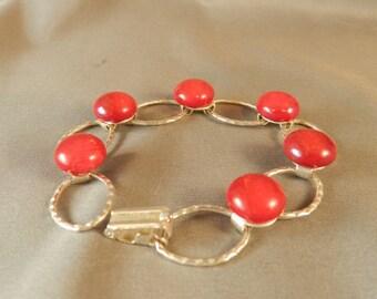 red bracelet in fused glass