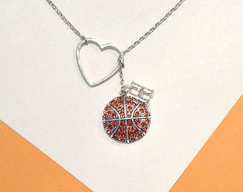 Basketball  Necklace with Rhinestones, Heart and Letter, handmade jewelry, birthday, christmas, gifts for her, sale, mom