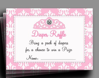 50% OFF SALE - Princess Diaper Raffle Printable - Instant Download - Diamond Tiara Collection