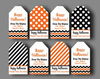 Printable Personalized Halloween Hang Tags - ONE or ALL Designs - Chevron Polka Dot Treat Tags