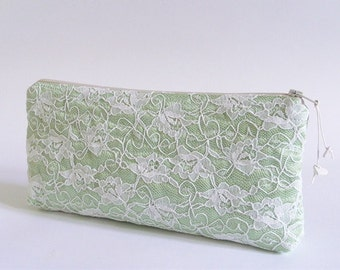 Wedding Clutch for Bride, Mint to be Bride Wallet, Lace Cosmetic Purse Bride, Bridal Party Gift Idea for Her