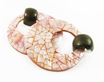 Vintage Hoop Earrings, Pink Mother of Pearl with Mosaic design / Pink Mother of Pearl Hoop Earrings, Beach Style - Boucles d'Oreilles.