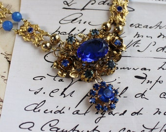 Ultramarine - Vintage Assemblage Statement Necklace- Cobalt, Prussian Blue Antique Austrian Crystal- Gold Plated- Blue Chalcedony Stones