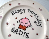 Custom Name Personalized  Birthday Plate Cupcake Girl Birthday Boy Birthday Plate Custom Color Baby's 1st Birthday Gag Birthday Gift