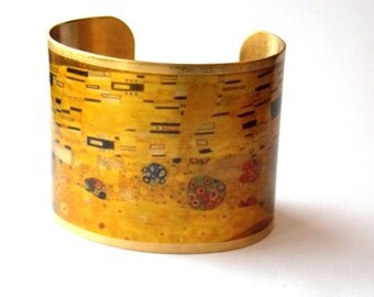 "Klimt ""The Kiss"" fine art cuff bracelet"
