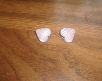 vintage clip on earrings lilac metal hearts
