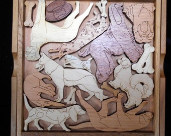 Dog Lovers Puzzle - artistic & challenging wood brain teaser with base and cover