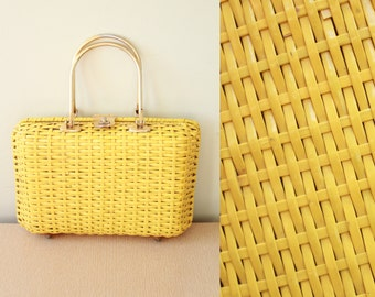 Vintage -60s - Mod New Look -  Bright Yellow Vinyl Basket Weave - Brass Metal Handle - Latch - Hand Bag - Purse
