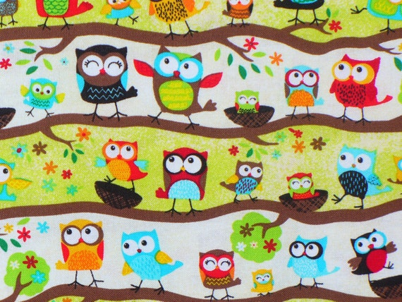 Owls on Branches / Owls Fabric / Tiny Owls in Rows / Owl Family / By the Yard