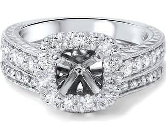 Cushion .70CT Cut Halo Diamond Vintage Engagement Ring Setting Set