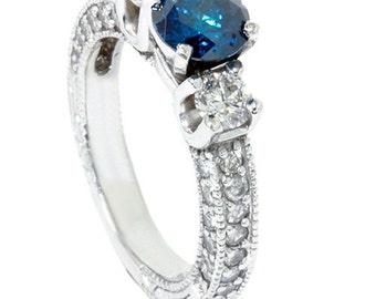 Blue Diamond 2.00CT Heirloom Vintage Engagement Ring 14K White Gold