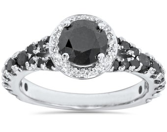 1.80CT Black & White Diamond Halo Engagement Split Shank Engagement Ring 14 Kt White Gold Size 4-9