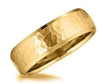 Mens Hammered 14K Yellow Gold 7 MM Wedding Ring Band Size 7 - 12