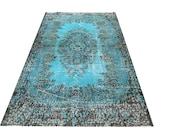 "7 ' X  3 '10""   213  X 116 cm Turkish Vintage Turquoise ocean   aqua Blue  Overdyed faded Destressed  handmade CARPET rug Just beautiful N26"