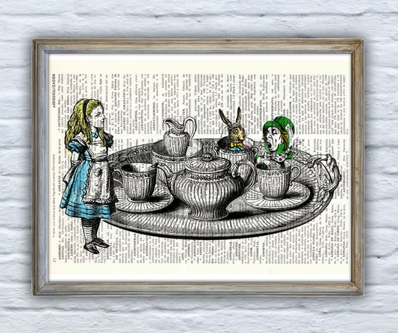 Summer Sale Alice in wonderland - Tea time with friends - Print Dictionary page- Nursery wall art-Giclee print- Unique gift ALW019