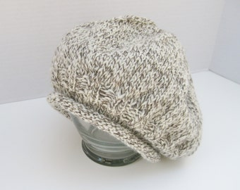 Wool tweed slouchy hat taupe ivory hand knitted