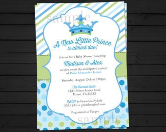A New Little Prince Baby Shower Invitation Digital File YOU-PRINT