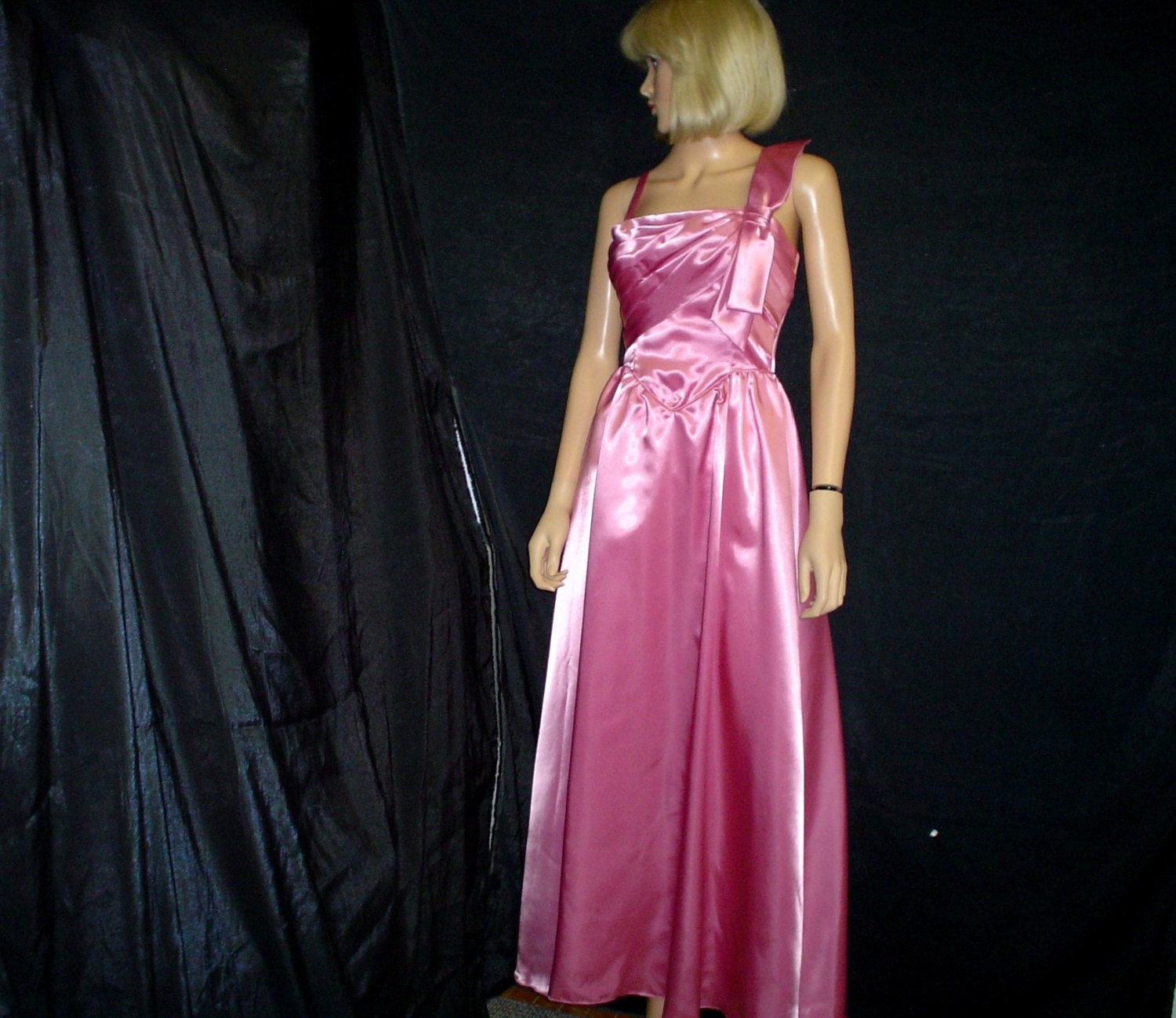 80s S 7 Deadstock Jac An Satin Prom Bridesmaid Dress Gown