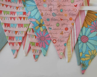 Pink, Yellow, Blue, Green Fabric Banner / Party Banner/ Heidi Grace Inspirational and Bunting Fabrics/ Photo Prop/   Large Flags
