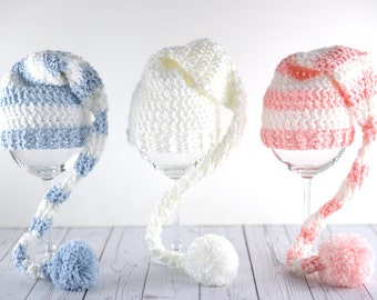 Long tail striped crochet elf hat newborn baby girl boy gender neutral photography prop - choose a color