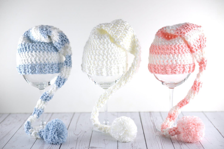 Free Crochet Pattern Long Tail Elf Hat : Long tail striped crochet elf hat newborn baby girl boy gender