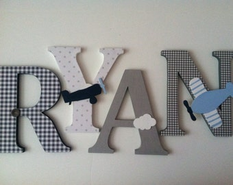 Nursery wooden  wall letters  Airplane themed