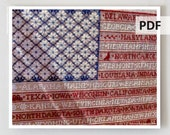 PDF cross stitch patterns : One Nation Sampler Bygone Stitches 4th of July e-pattern hand embroidery instant download