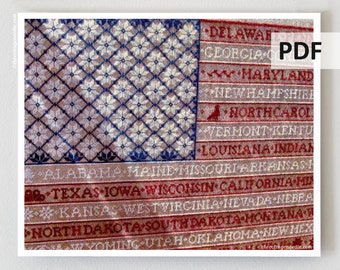 One Nation Sampler PDF counted cross stitch patterns : Bygone Stitches 4th of July patriotic USA e-pattern hand embroidery instant download