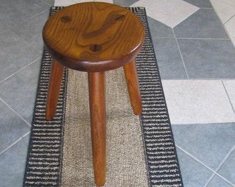 rustic wood milk stool, solid ash wood furniture, office seating, three legged stool