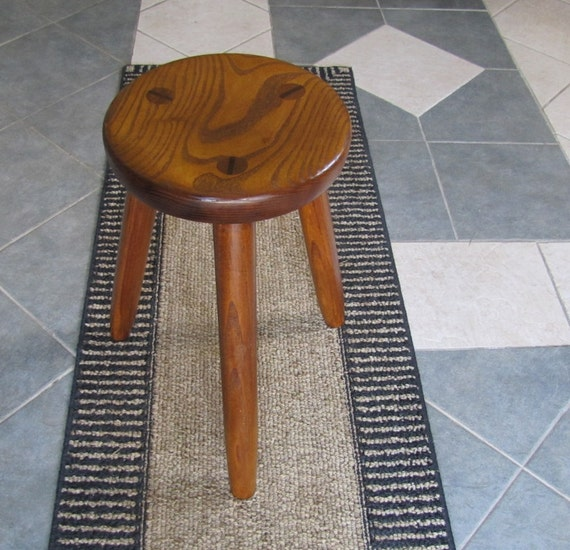 Rustic Wood Milk Stool Solid Ash Wood Furniture Office