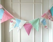Shabby Chic Fabric Banners, Bunting, Garland, Wedding Bunting, Pennants, Flags - 3 yards