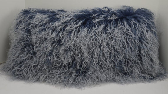 Real Genuine Mongolian Lamb Fur Lumbar Pillow Indigo Blue
