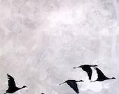 MInimal art Winter grey flock of geese, laura sue art, minimal rustic print of painting