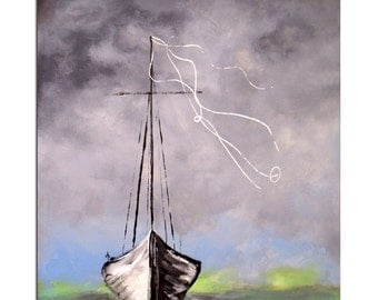 Ghost Ship, Art Print, Large print perfect for beach house and gift for men, Storm on the sea