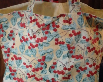 Cheerful Red Cherries on Yellow Jumbo Lined Cloth Market Tote