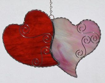 Stained Glass Suncatcher - Double Hearts, Red and Pink, Valentine Heart, Valentine's Day Gift