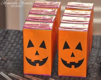 PRINTABLE JUICE BOX labels - Halloween Jack-O-Lantern Design - Memorable Moments Studio