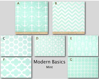 Crib Bedding- Design Your Own Bedding- Dorm Bedding- Glider Cushions- Modern Basics- Mint